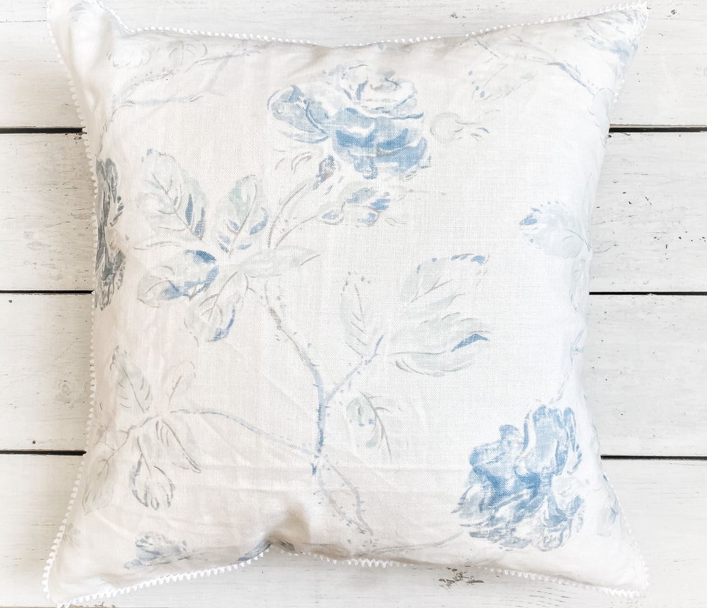 Beige/blue floral square pillow