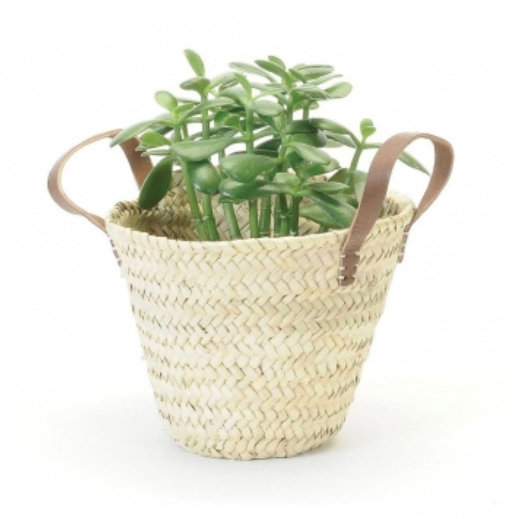 Straw Planter Leather Handles