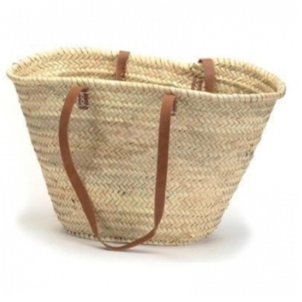 Straw Market shoulder Bag with Leather Handles