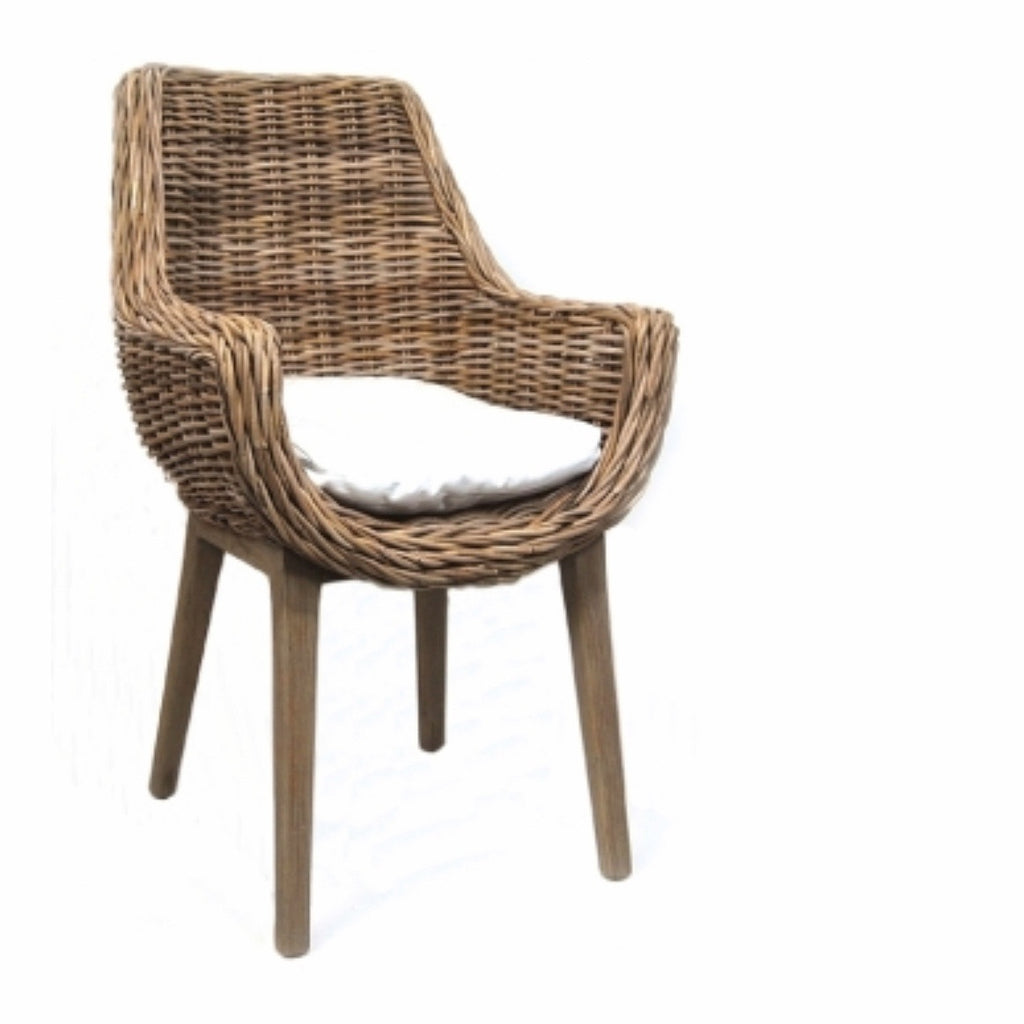 Rattan Chair With White Cushion. *In store only