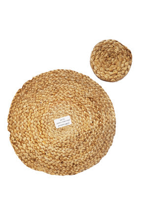 Round Natural Jute Placemat & Coaster