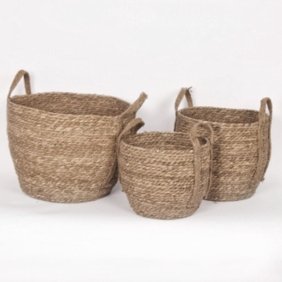 Natural Straw Basket. Set of 3