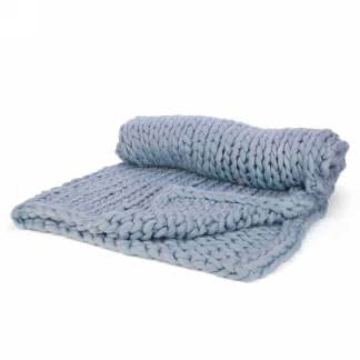 Sky Blue Chunky Knit Throw