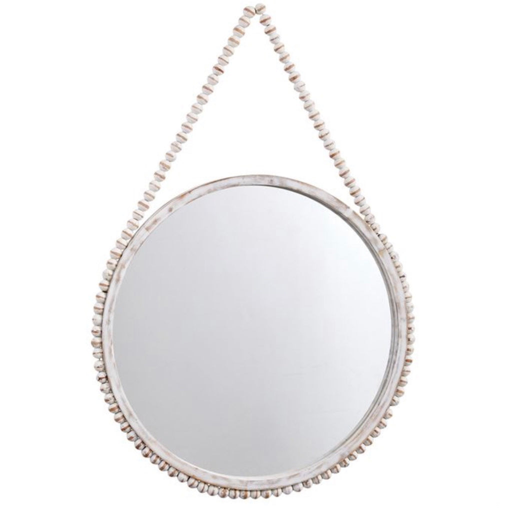 Whitewash Wooden Beaded Mirror. ** In store item only **