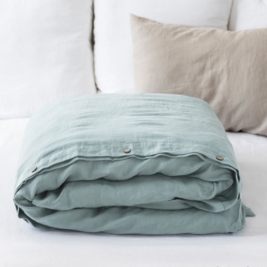 Linen Duvet Cover, Dusty Blue