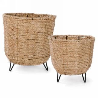 Natural rattan basket on tripod, set of 2 floor baskets