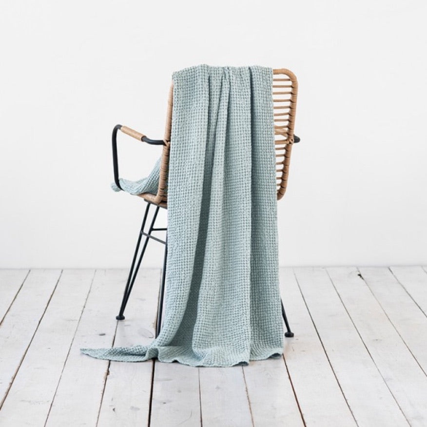 Waffle Throw, Dusty Blue