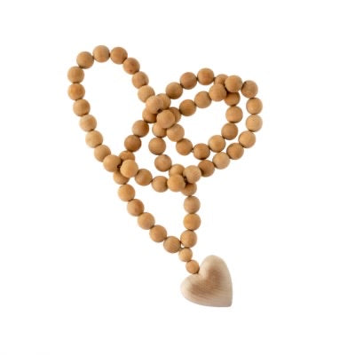 Wooden Heart Bead, Large