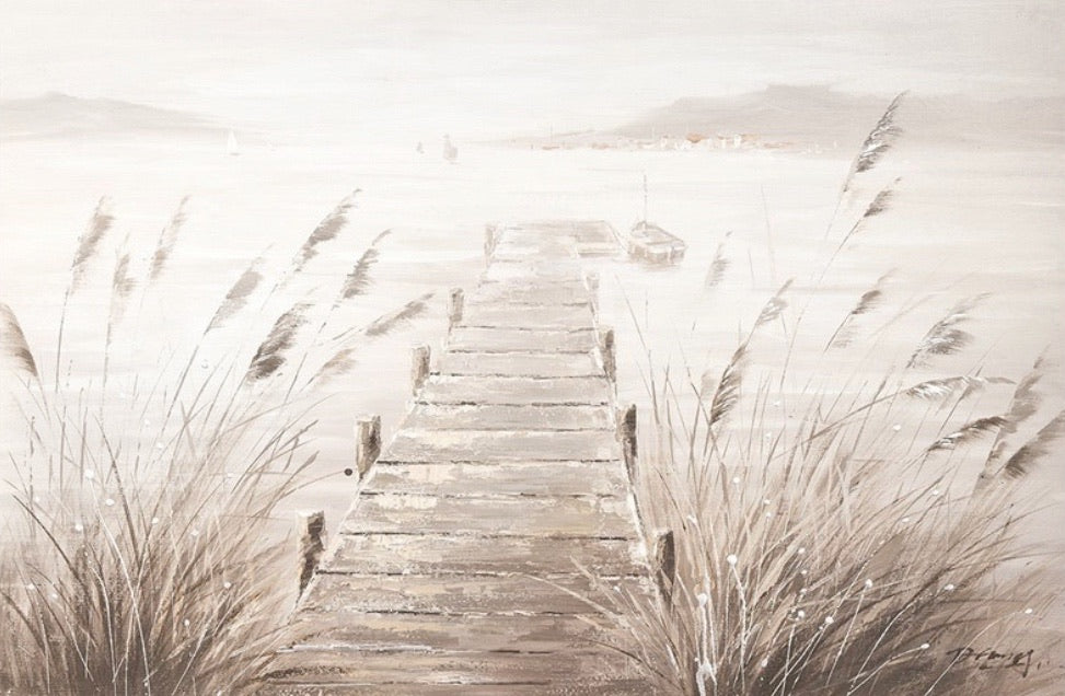 Misty Pier Oil Canvas ** in store item only**