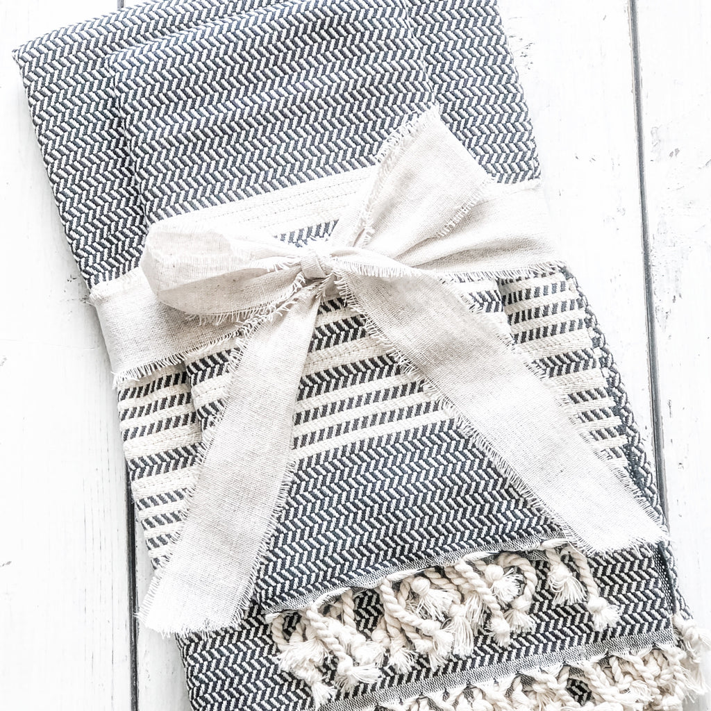 Sunday Special~ Charcoal Towel/Throw & Hand Towel Combo