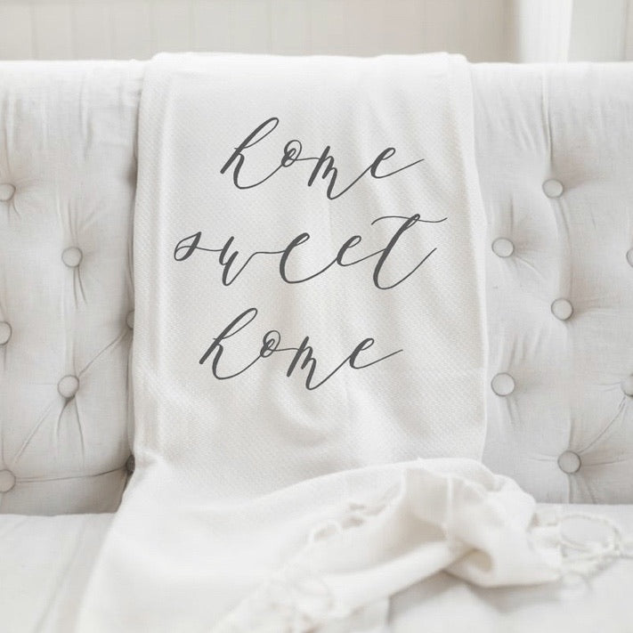 Home Sweet Home Throw. White
