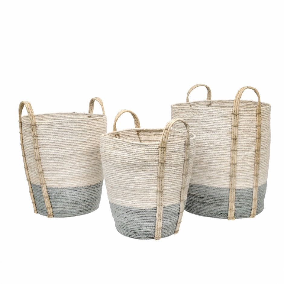 Shore Baskets Misty Blue. Set of 3