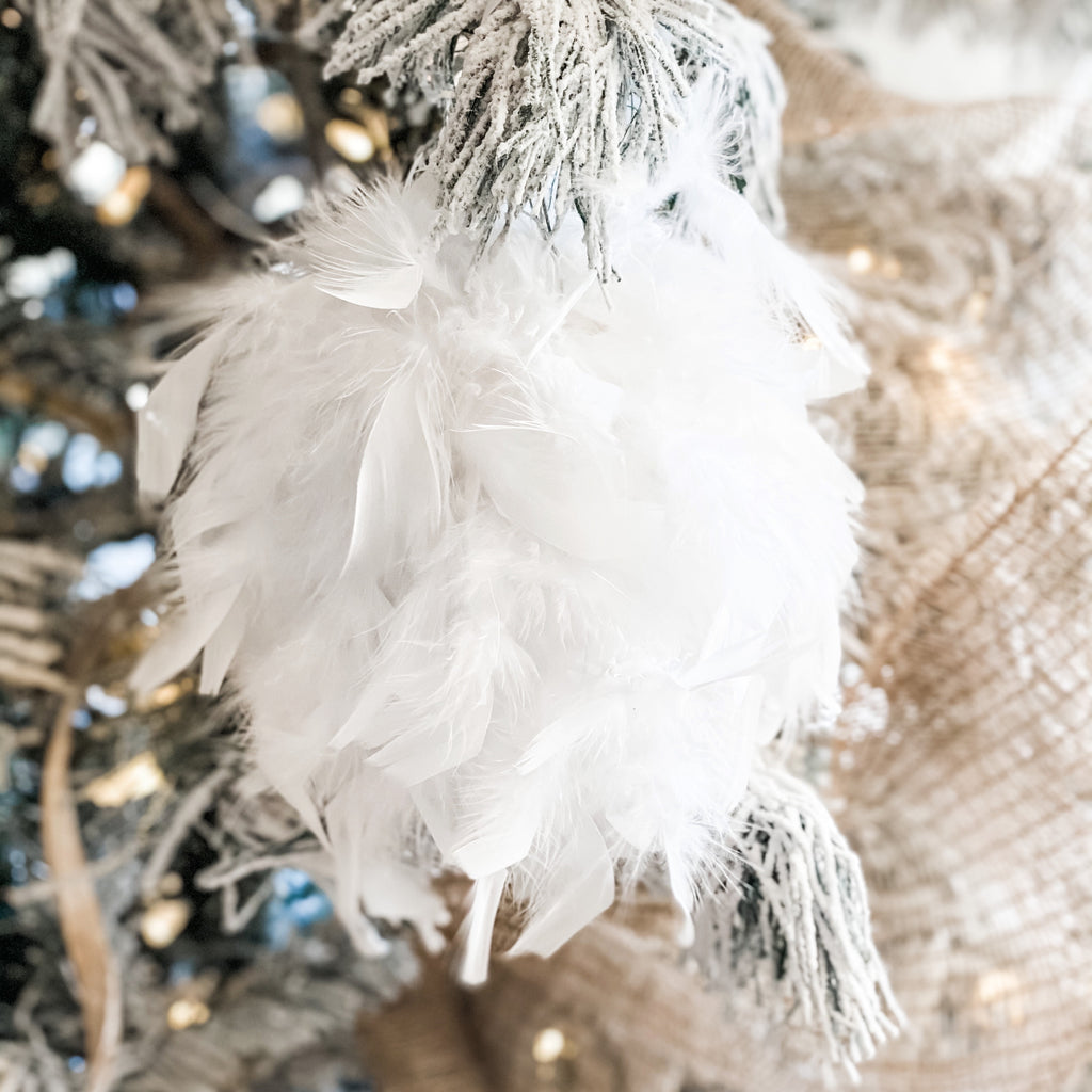 Large Feather Ball Tree Ornaments