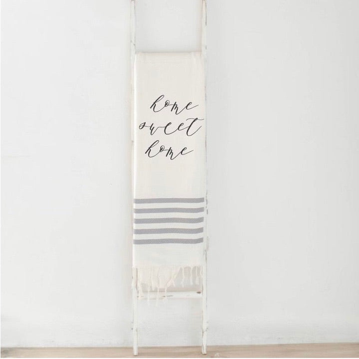 Home Sweet Home Grey Striped Throw