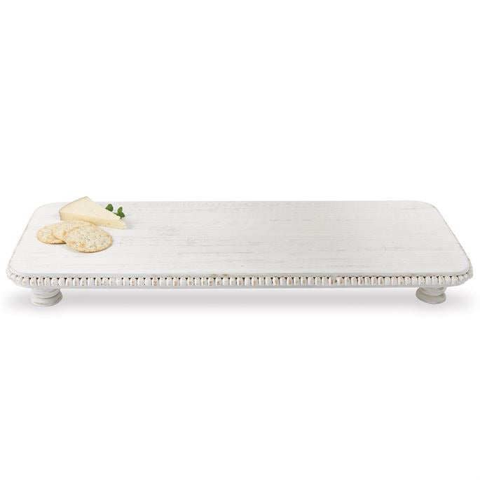 Beaded Whitewash Wooden Serving Board