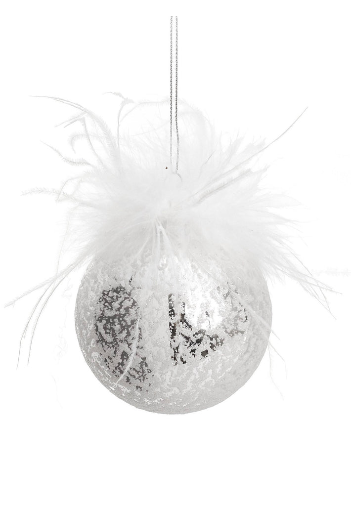Sparkle Glass with Feather Ornament