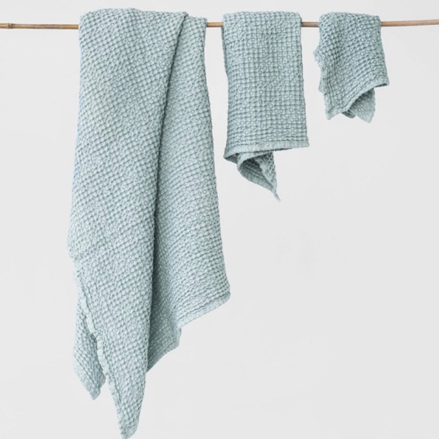 Waffle Towel Set of 3, Dusty Blue