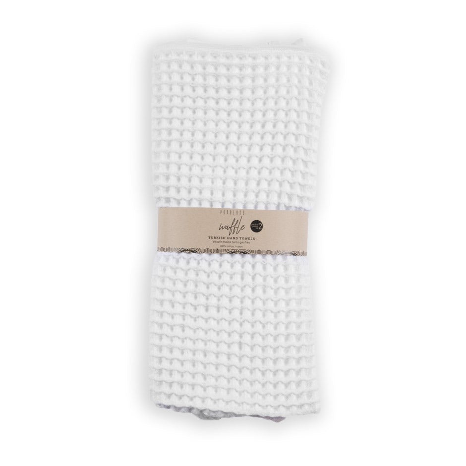 White waffle hand towel, pack of 2