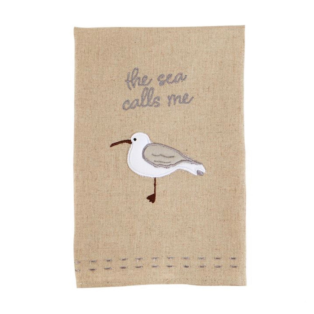 The Sea Calls Me shore bird towel