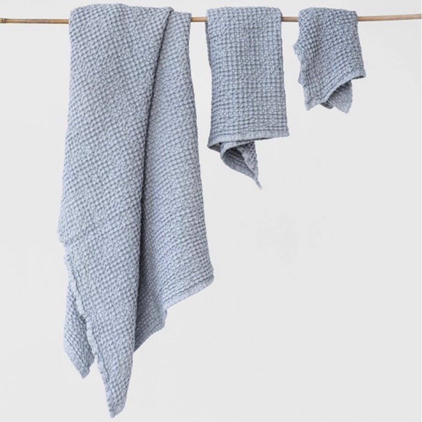 Waffle Towel Set of 3, Light Grey