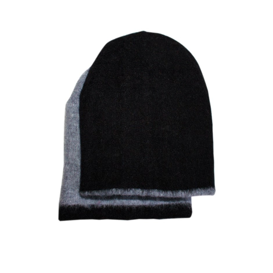 Alpaca Reversible Toque. Black\Grey