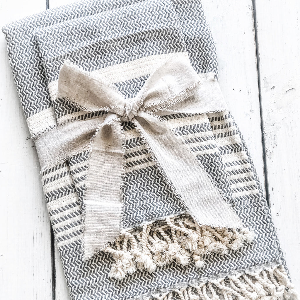 Sunday Special~ Slate Towel/Throw & Hand Towel Combo