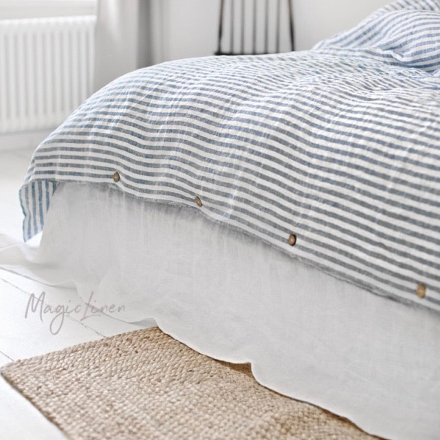 Linen Duvet Cover, Striped Blue