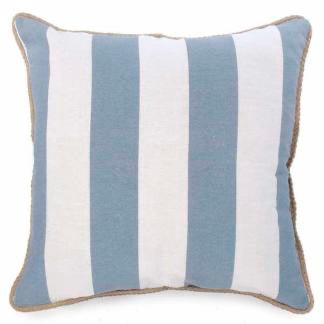 Blue Striped Hampton Pillow with Jute Edge