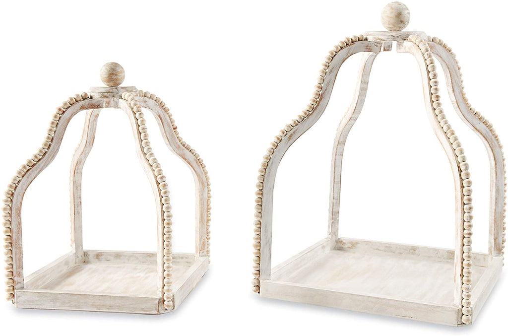 Beaded White Wash Candle Holders