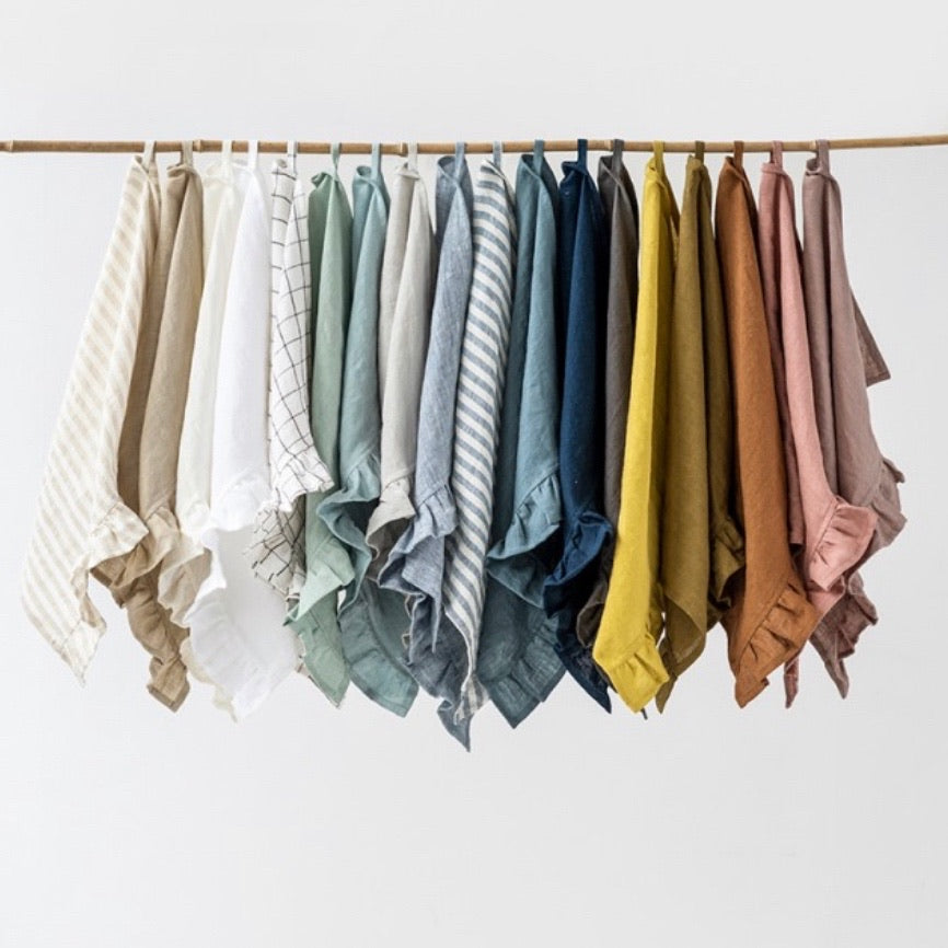 Ruffled Linen Tea Towels