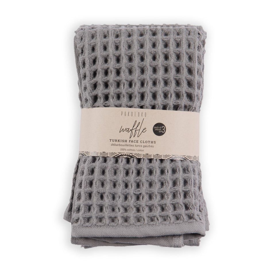 Dark grey waffle face towel, pack of 3
