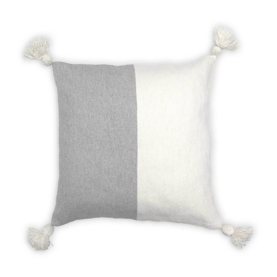 Moroccan Pom Pom Pillow, light grey/white colour block