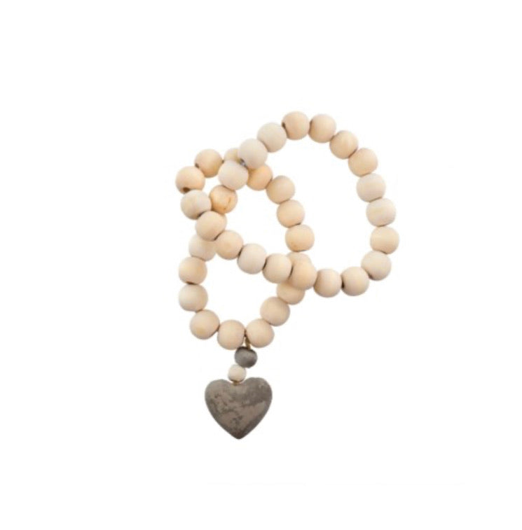 Wooden Beads with Concrete Heart