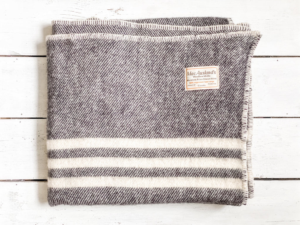 MacAuslands Mill wool throw, dark grey