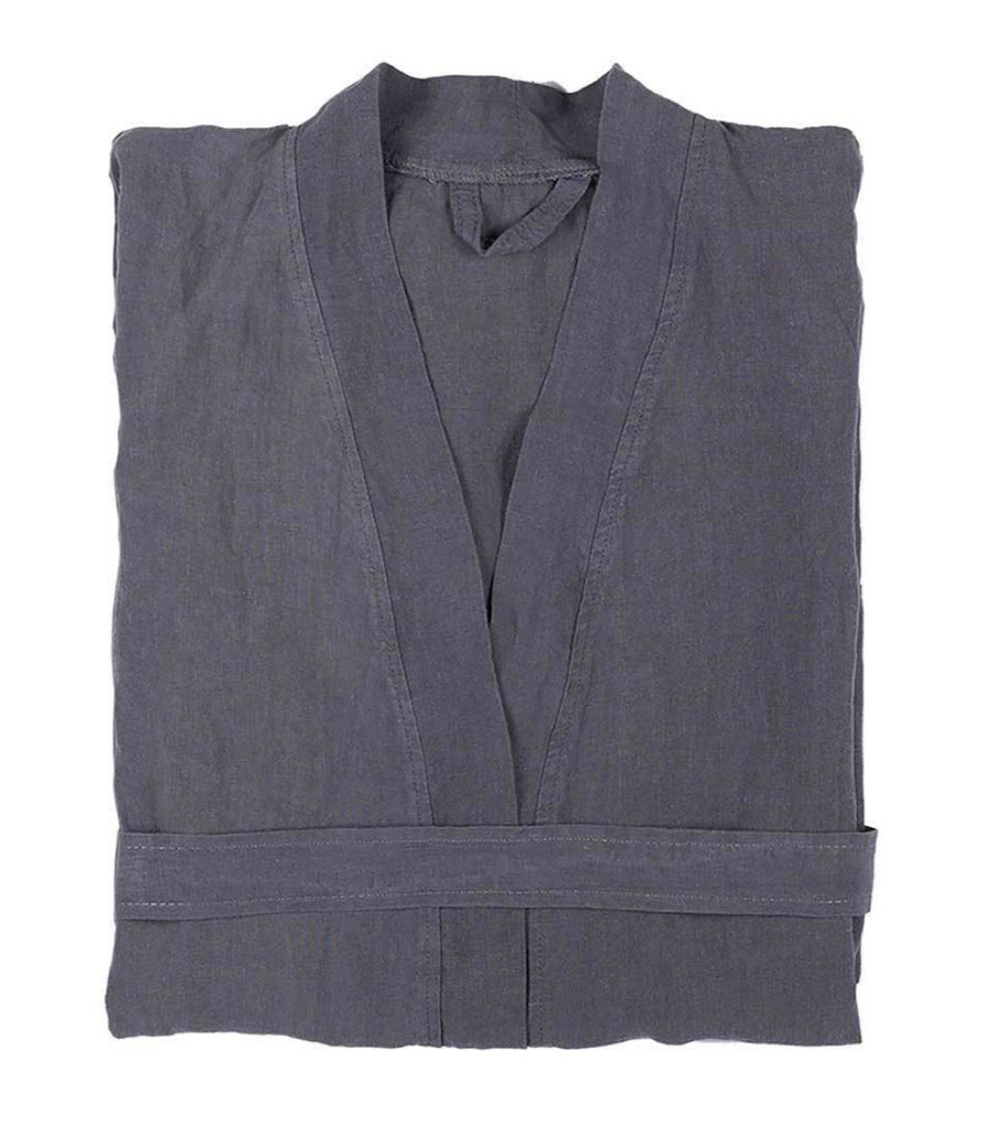 Linen Robe , S/M, Dark Grey