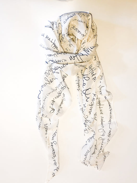 Silk Scarf with Handwritten Print Graphics
