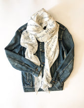 Load image into Gallery viewer, Silk Scarf with Handwritten Print Graphics