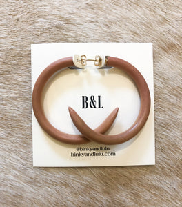Mango Wood Hoop Earrings Medium