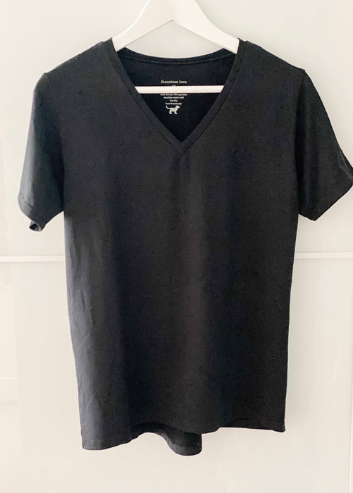 Tencel V-Neck T-Shirt in  Black