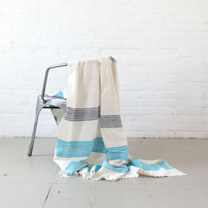 Cotton Turquoise and Navy Blanket