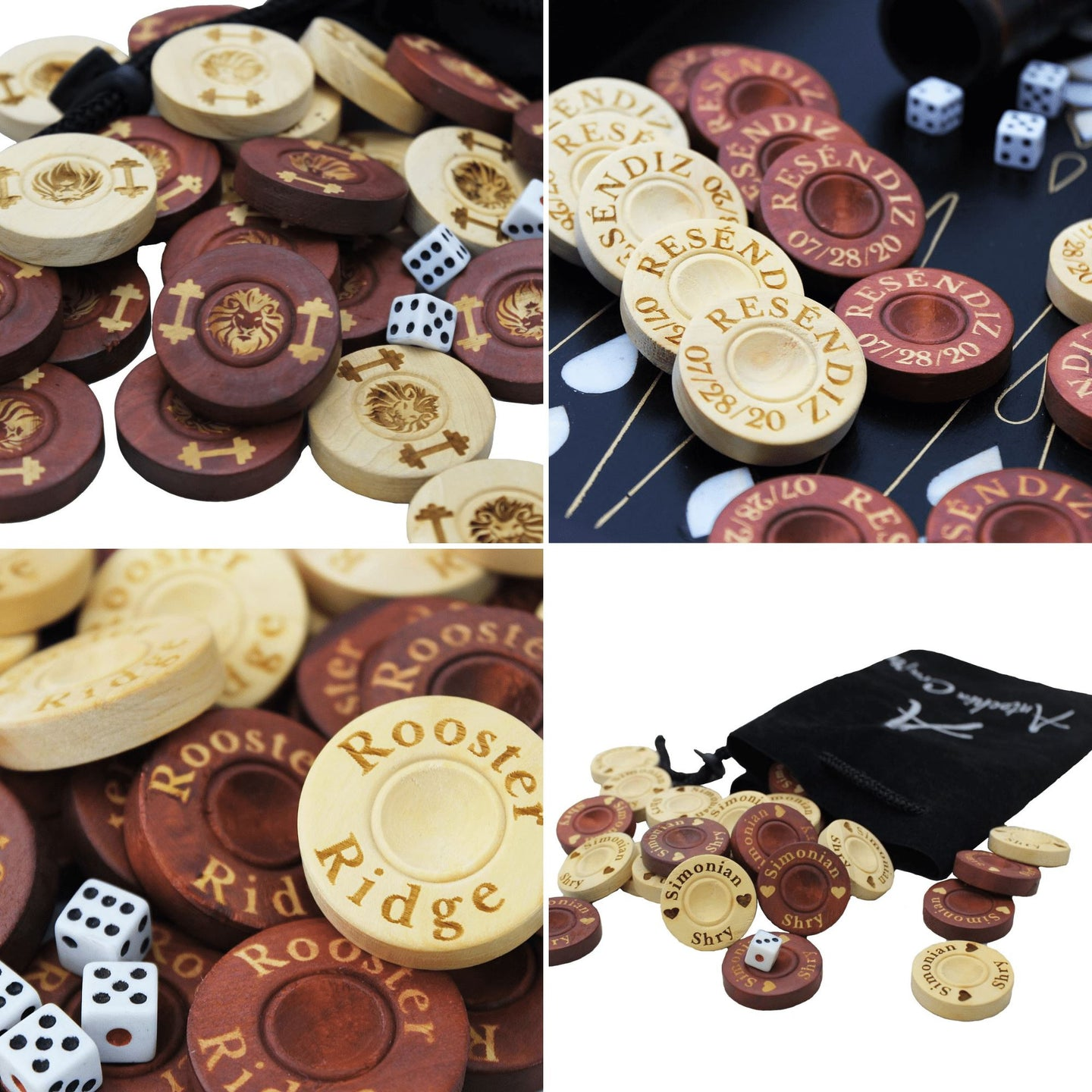 Personalized Engraved Backgammon Chips Backgammon Antochia Crafts