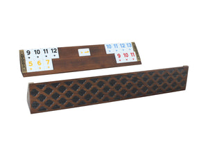 Wooden Oval Rummy Cube Game with Motifs