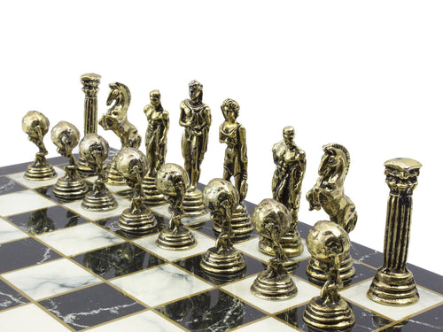 10.6 Inch Wooden Chess Board and Metal Chess Figures Set Antochia Crafts