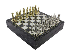 12 Inch Wooden Personalized Board and Metal Chess Figures Set Antochia Crafts