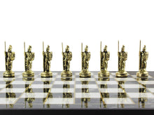 Load image into Gallery viewer, 12 Inch Wooden Personalized Board and Metal Chess Figures Set Antochia Crafts