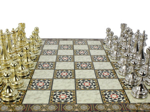 Mosaic Plated Boxed Custom Chess Set : Golden Antochia Crafts