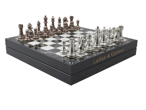 13.7 Inch Chrome Plated Boxed Custom Chess Board Game Set Antochia Crafts