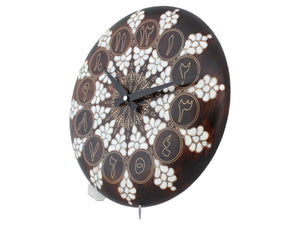 Wooden Wall Clock - Mother of Pearl and Brass Wire Inlay