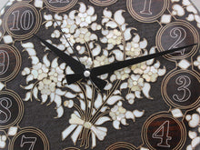 Load image into Gallery viewer, Flower Motifs Inlaid Wooden Wall Clock - Antochia Crafts