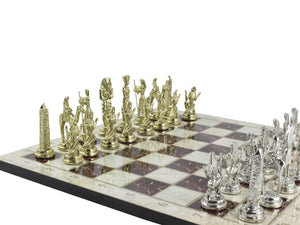 Marble Design Chess Board and Figures 14.5 Inch Antochia Crafts